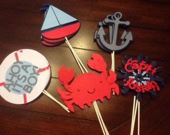 Nautical centerpiece sticks for baby shower