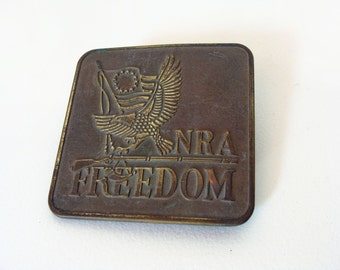 70's NRA Freedom Belt Buckle Brass