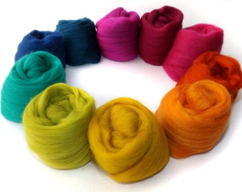 Merino Wool - Spinning - Felting - 21 Micron - Selection Pack - 100g - 3.5oz - MARRAKESH