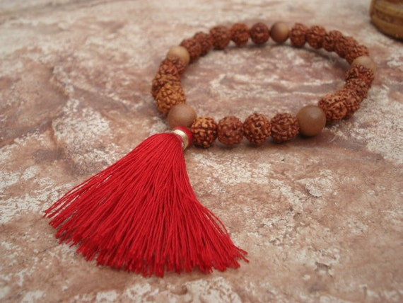 Sandalwood Bracelet, Rudraksha Bracelet, Mala Bracelet, Prayer Bead Bracelet, Yoga Bracelet, Meditation Jewelry, Spiritual Jewelry, Zen