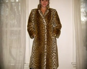 Wild Heavy Weight Vintage 1980s Cheetah Print Faux Fur Winter Trench Coat