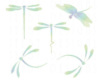 Dragonfly Clip Art - Set of Five Dragonflies - Southwest Clip Art - Green - Blue Dragonflies - Pastel Dragonflies