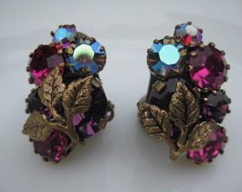 Beautiful Vintage Austrian Crystal Clip Earrings Costume Colorful