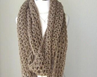 TAN INFINITY Crochet SCARF, Fall, Winter, Fashion, Boho, Chic, Taupe Crochet Scarf, Handmade Scarf, Chic, Feminine, Gift for Her