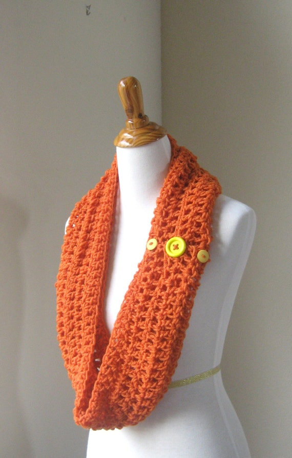 ORANGE INFINITY SCARF Yellow Buttons Crochet Scarf Fashion Chic Modern Spring Fall Winter Loop Eternity Handmade Unisex Gift  Scarf