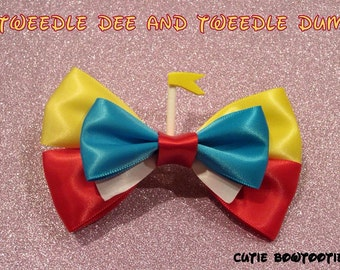 Tweedle Dee and Tweedle Dum hair bow Alice in Wonderland Disney Inspired