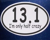 Half Crazy Half Marathon Car Magnet oval Car Magnet
