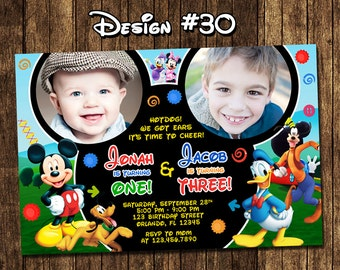 Mickey Mouse Clubhouse Birthday Double Party 2 Photo Invitations - Printable