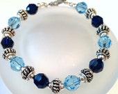 Blue Swarovski Crystal Bracelet, Beaded Jewelry, Crystal Jewelry, Swarovski Bead Bracelet, Sapphire Crystal, Blue Bead Bracelet