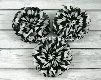 "SALE Black Chevron Ballerina Twirl flowers - 2.5"" Chiffon Flowers - 2.5 inches DIY Flower"