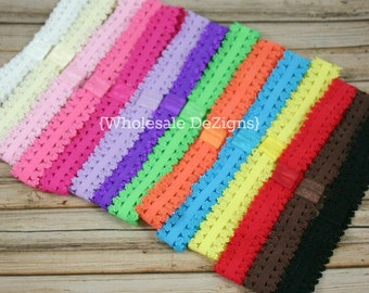 Lace Elastic Headbands with Interchangeable Loop - Picot Edge Trim - Your Choice - Headbands 7/8""