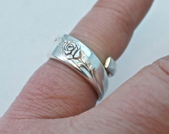silver SPOON ring. size 5 spoon ring. flower. small . adjustable. spoonjewelry No.00223