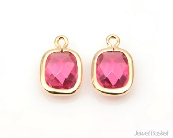 Ruby color and Gold Framed Glass Pendant - 2pcs Ruby Square Pendants, Earrings Jewelry / 9mm x 15mm / SREG057-P