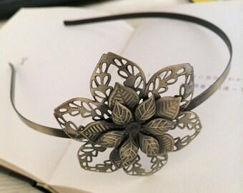 2pcs 62x62mm Floral headband  Antique Bronze Filigree metal Headband