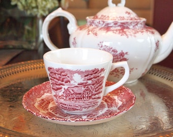 Vintage Grindley Pink/Red English Country Inns English Transferware Cup and Saucer Set - England  - 5 Available