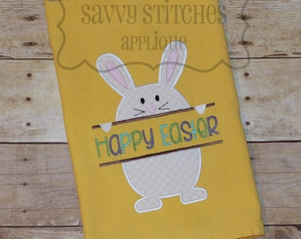 Split Bunny Machine Embroidery Applique Design