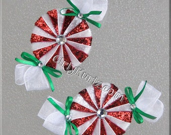 GLITTER RED Peppermint Candy Hair Clip, Candy Hair Bow, Candy Hair Clip, Christmas Hair Bow, Hair Bow for Girls