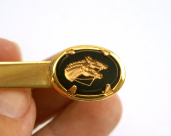 Vintage Horse Heads Tie Clip Oval Black and Gold Tone