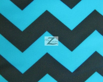 "Zig Zag Chevron Poly Spandex Fabric - TURQUOISE/BLACK - 58""/60"" Width Sold By The Yard"
