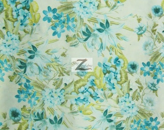 "Stargazer Floral Satin Fabric - AQUA - 58"" Width Sold By The Yard"