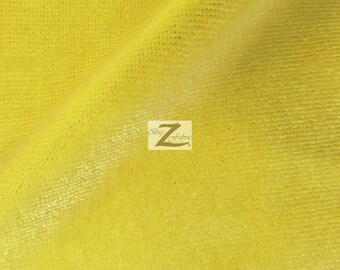 "Stretch Velvet Velour Spandex 360 Grams Costume Fabric - YELLOW - 58""/60"" Width Sold By The Yard"