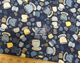 "Tiana Teacups Blue By Hoffman Fabrics 100% Cotton Fabric - 45"" Width Sold By The Yard (FH-889)"