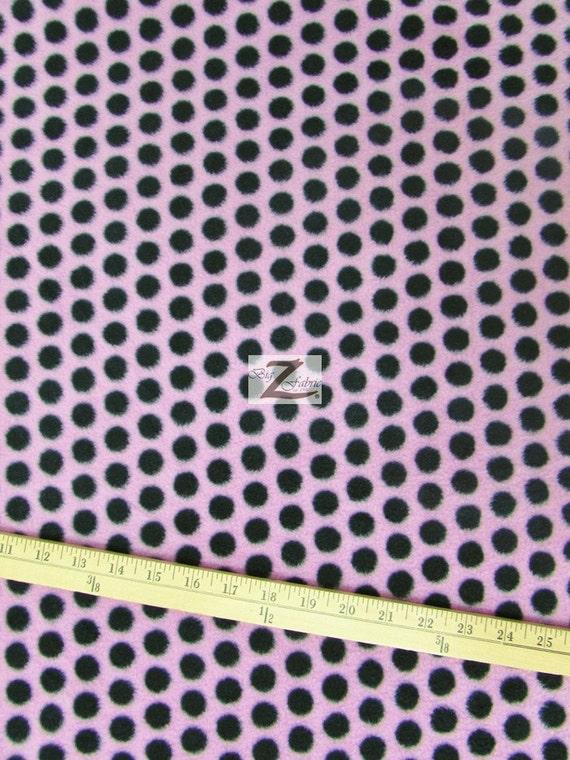 polka dot print polar fleece fabric pink black dots sold. Black Bedroom Furniture Sets. Home Design Ideas