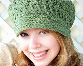 Crochet Hat Pattern Womens Newsboy Hat Slouchy Hat Slouch Beanie Womens Crochet Hat PDF 160 12 Month to Adult Instant Download