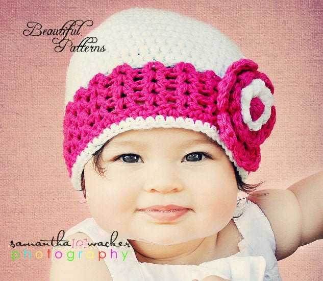 Crochet Patterns Baby Hats With Flowers : Crochet Hat PATTERN Baby Crochet Hat V Stitich Flower Flapper