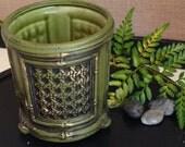 Napcoware Golden Bamboo Ceramic Vase - Retro Green & Gold with Cane Detail