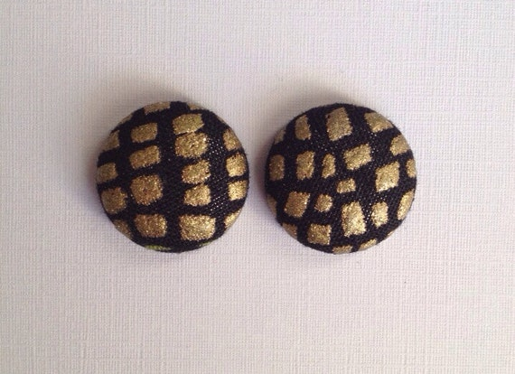 Black and Shimmery Gold Fabric Button Earrings