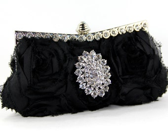 Black Purse - Black Silk Evening Purse w/ stunning Swarovski Crystal Accent - Black Rose Purse - black clutch, wedding, bridesmaid gift