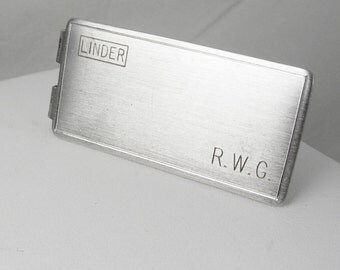 Vintage Money clip silver Linder Initials letter personalized RWG Brushed Anson Patent Number Holiday Casino Lucky