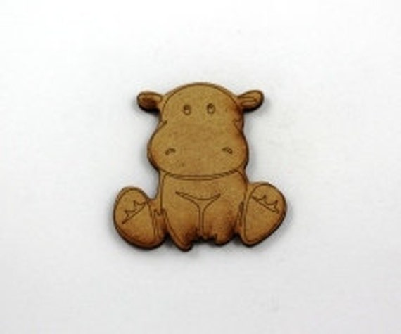 Lasercut Craft Wood Happy Hippo– Set of 2. 60 mm Wide Happy Hippo. Made of Craft Wood Perfect for Embellishing, Wood Crafts
