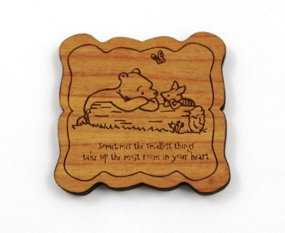 Laser Cut Supplies-1 Piece.Classic Pooh Bear Charms - Cherry Wood Laser Cut -Brooch Supplies- Little Laser Lab Sustainable Wood Products
