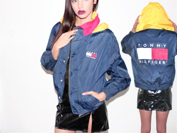 90s tommy hilfiger hooded windbreaker sporty bomber by. Black Bedroom Furniture Sets. Home Design Ideas
