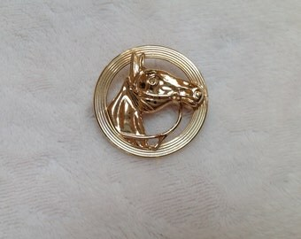 Beau Sterling Silver Round Horse's Head Pin