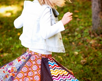Little Girls Full Circle Skirt New Skirt Little Girls Corduroy Skirt Little Girls Twirling Skirt Paneled Skirt