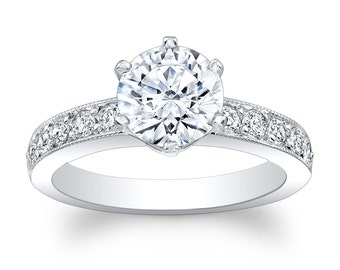 14kt white gold pave engagement ring 0.40 ctw G-VS2 diamonds with 1.50ct Round White Sapphire Ctr