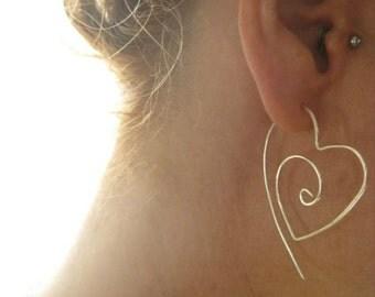 Sterling Silver Tribal Heart Hoop Earrings,Silver Heart Hoops, Large Heart Earrings