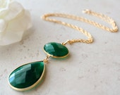 Gold Filled Green Onyx Large Drop Necklace, Emerald Green, Green Gemstone, May Birthstone