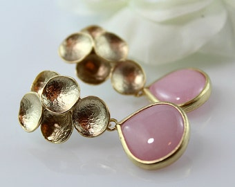 Pink Teardrop Dangle Earrings, Pink Jade Earrings, Matte Gold Retro Earrings, Large Rose Earrings