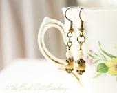 Vintage Style Gold Matte Bead Czech Glass Earrings
