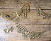 Set of 4 solid brass vintage butterfly wall plaques