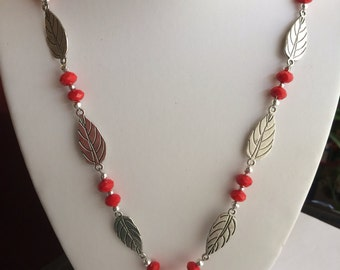 Leaf Necklace with wire wrapped pendant.
