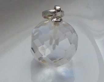 Small Faceted Quartz Sterling Silver Pendant 13mm w/out bail Quartz is 11mm Round