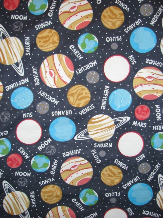 Glow in the dark space flannel fabric planets solar system for Fabric planets solar system