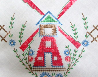 Children's Tea Tablecloth, Windmills, Fences and Flowers