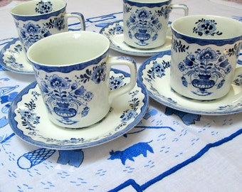 "Tea Mugs and Saucers, Set of 4, Johnson Brothers, ""Holland"""
