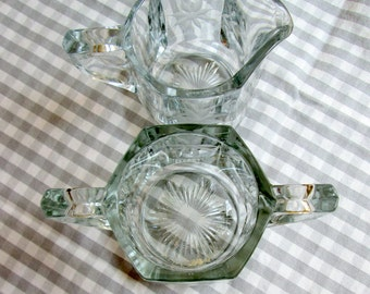 Cream and Sugar Set, Etched Glass